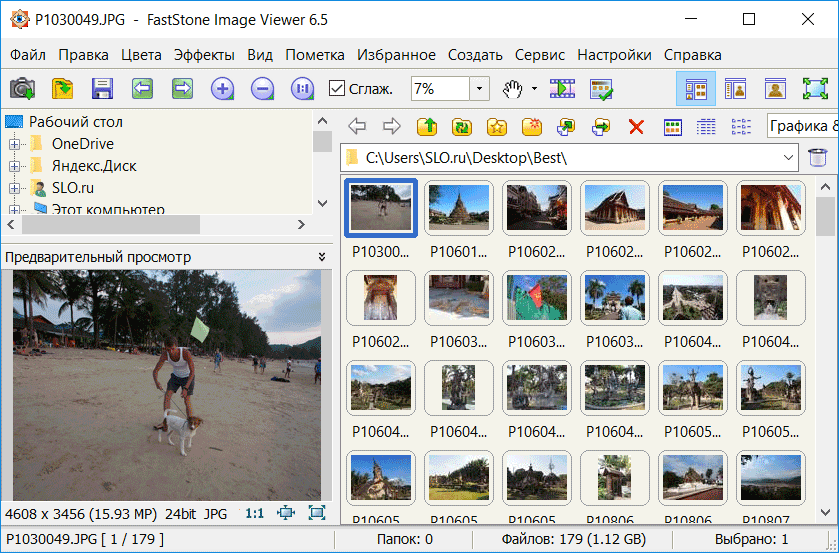 Интерфейс FastStone Image Viewer