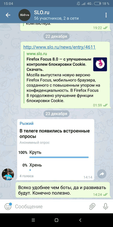 Голосование в Telegram